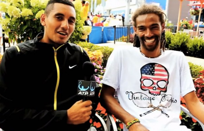Nick Kyrgios (L) interviews Dustin Brown for ATP Insider; ATP World Tour