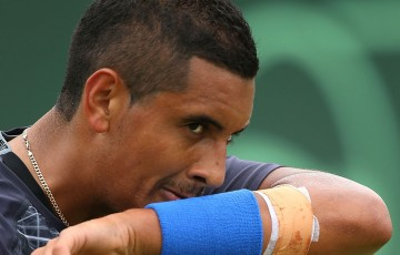 Nick Kyrgios looks on during practice for Australia's Davis Cup tie against Uzbekistan at Cottesloe, Perth; Getty Images