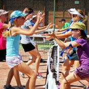 Youngsters enjoy a Cardio Tennis demonstration at the recent AO Blitz visit to Newcastle; Tennis Australia