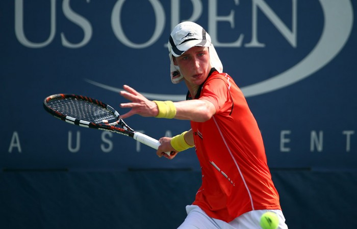Marc Polmans in action at the US Open boys' singles event; Getty Images