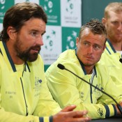 Pat Rafter, Lleyton Hewitt and Chris Guccione, Davis Cup, Perth, 2014. GETTY IMAGES