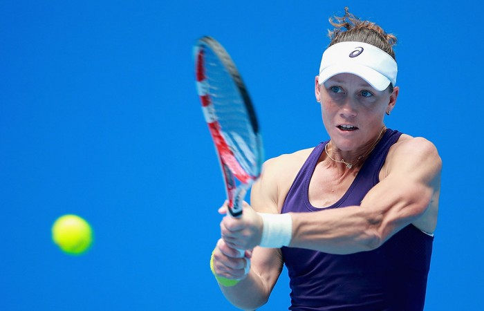 Sam Stosur plays a backhand during her first round win over Francesca Schiavone at the China Open in Beijing; Getty Images