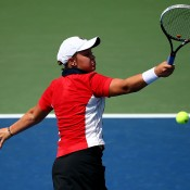 Ash Barty in action during her first round loss to 30th seed Barbora Zahlavova Strycova at the US Open; Getty Images