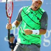 Lleyton Hewitt reacts during his first round loss to Tomas Berdych on Arthur Ashe Stadium at the US Open; Getty Images