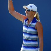 Anastasia Rodionova celebrates her first round victory over Camila Giorgi at the US Open; Getty Images