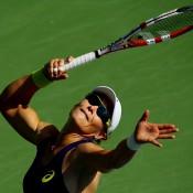 Sam Stosur serves during her first round US Open victory over Lauren Davis; Getty Images