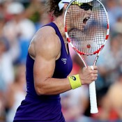 Sam Stosur celebrates a point during her tense second-round loss to Kaia Kanepi at the US Open; Getty Images