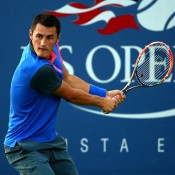 Bernard Tomic in action during his first round victory over Dustin Brown at the US Open; Getty Images