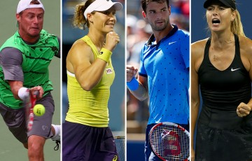 (L-R) Lleyton Hewitt, Sam Stosur, Grigor Dimitrov and Maria Sharapova will head to the Brisbane International in 2015; Getty Images