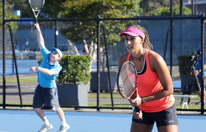 Geva Mentor (R) takes part in the Win a Wildcard competition; Tennis Australia