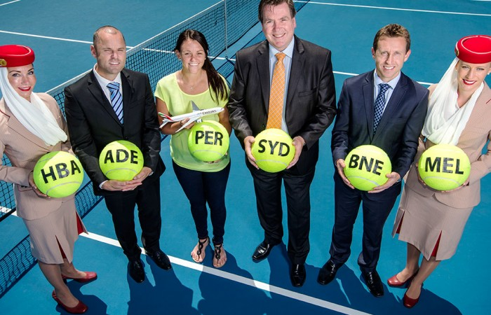 (L-R, starting second from left) Hopman Cup tournament director Paul Kilderry, Casey Dellacqua, Tennis Australia director events and facilities Tom Larner and Emirates Airline staff in Perth for the announcement of the Emirates Australian Open Series; Ross Swanborough