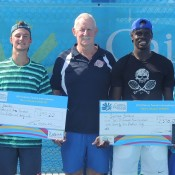 Omar Jasika (L) finished runner-up to Jarmere Jenkins (R) in the final of the Cairns Tennis International; Tennis Australia