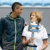 Nick Kyrgios and Margaret Court share a joke at Margaret Court Arena. FIONA HAMILTON