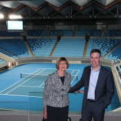Margaret Court and Margaret Court Arena architect Hamish Lyon at the launch of Australian Open 2015. FIONA HAMILTON