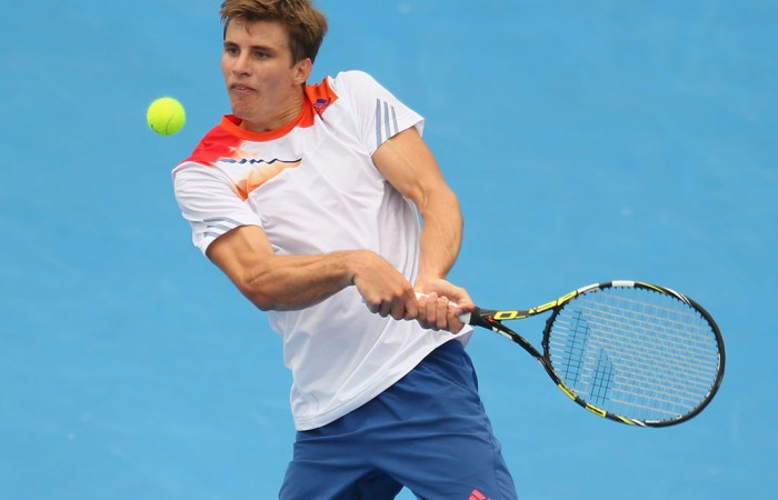 Ben Mitchell in action at the 2014 AAMI Classic at Kooyong; Getty Images