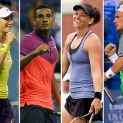 (L-R) Sam Stosur, Nick Kyrgios, Casey Dellacqua and Lleyton Hewitt have been named finalists for the Newcombe Medal; Getty Images