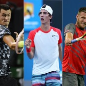 (L-R) Bernard Tomic, Thanasi Kokkinakis and Sam Groth have qualified for the ATP Shanghai Masters; Getty Images