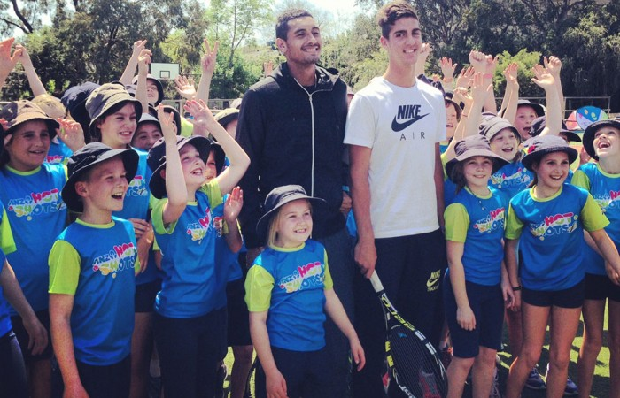 Nick Kyrgios and Thanasi Kokkinakis with students at Hartwell Primary School.