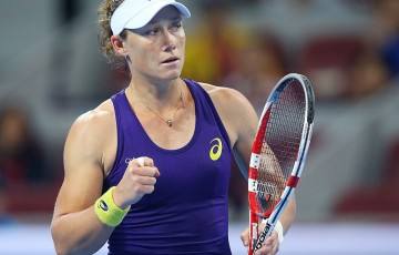 Sam Stosur celebrates a point during her second-round victory over Caroline Wozniacki at the China Open in Beijing; Getty Images