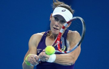 Sam Stosur in action during her semifinal loss to No.3 seed Petra Kvitova at the China Open in Beijing; Getty Images