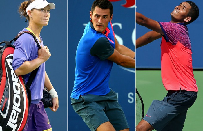(L-R) Sam Stosur, Bernard Tomic and Nick Kyrgios will contest the Apia International Sydney in 2015; Getty Images