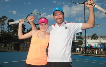 Ness Pratt (L) and Adrian Muscillo were the winners of the Win a Wildcard qualifying competition at Tennis World, Melbourne Park; Fiona Hamilton