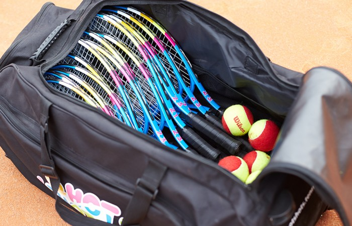 equipment, hot shots, racquet, ball