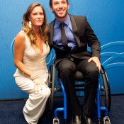 Australian No.1 wheelchair player Adam Kellerman (right) on the blue carpet at the 2014 Newcombe Medal Australian Tennis Awards; Elizabeth Xue Bai