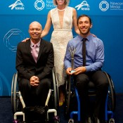 Most Outstanding Athlete with a Disability: Adam Kellerman (bottom right) with David Hall (bottom left) and Nicole Bradtke; Elizabeth Xue Bai
