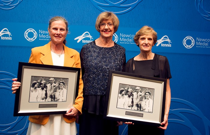 Australia's 1974 Fed Cup team of Dianne Balestrat (L) and Janet Young (R) are presented with commemorative prints by Margaret Court at the Newcombe Medal Australian Tennis Awards in honour of the 40th anniversary of their triumph; Elizabeth Xue Bai