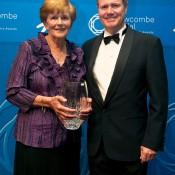 President's Spirit of Tennis Award: Carol Langsford (L) with Tennis Australia president Steve Healy; Elizabeth Xue Bai