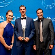 Male Junior Athlete of the Year: Thanasi Kokkinakis (centre) with Sam Stosur (L) and Pat Rafter; Elizabeth Xue Bai