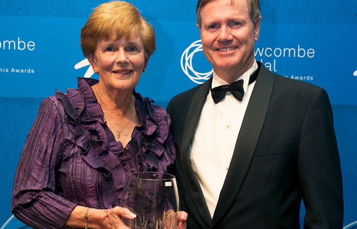 Carol Langsford (L) with Tennis Australia president Steve Healy after winning the President's Spirit of Tennis Award at the 2014 Newcombe Medal Australian Tennis Awards; Elizabeth Xue Bai