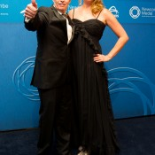 Tennis Australia CEO Craig Tiley (L) and and wife Alicia on the blue carpet at the 2014 Newcombe Medal Australian Tennis Awards; Elizabeth Xue Bai