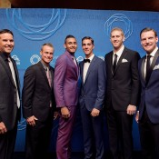 Australia's Davis Cup team of (L-R) Pat Rafter (captain), Lleyton Hewitt, Nick Kyrgios, Thanasi Kokkinakis, Chris Guccione and Sam Groth on the blue carpet at the 2014 Newcombe Medal Australian Tennis Awards; Elizabeth Xue Bai