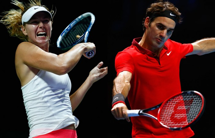Maria Sharapova (L) and Roger Federer; Getty Images