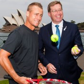 Lleyton Hewitt (L) and Tro Grant at the announcement of the One night with Roger Federer and Lleyton Hewitt Presented by Credit Suisse exhibition event in Sydney; Tennis Australia