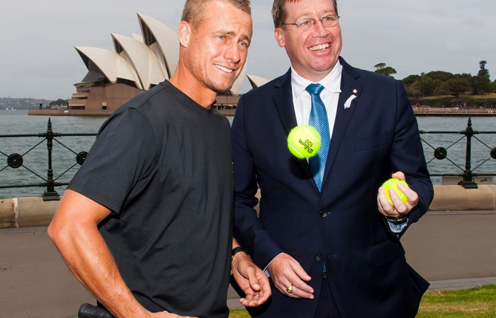 Lleyton Hewitt (L) and NSW Deputy Premier Troy Grant at the announcement of the One night with Roger Federer and Lleyton Hewitt Presented by Credit Suisse exhibition event in Sydney; Tennis Australia