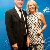 John Fitzgerald (L) and wife Jenny on the blue carpet at the 2014 Newcombe Medal Australian Tennis Awards; Elizabeth Xue Bai