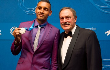 2014 Newcombe Medal winner Nick Kyrgios (L) with John Newcombe; Elizabeth Xue Bai