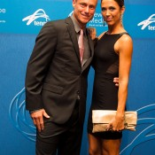 Lleyton and Bec Hewitt on the blue carpet at the 2014 Newcombe Medal Australian Tennis Awards; Elizabeth Xue Bai