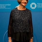 Margaret Court on the blue carpet at the 2014 Newcombe Medal Australian Tennis Awards; Elizabeth Xue Bai
