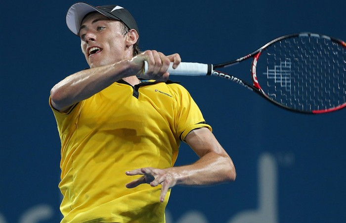 John Millman in action at the Brisbane International in 2013; Getty Images