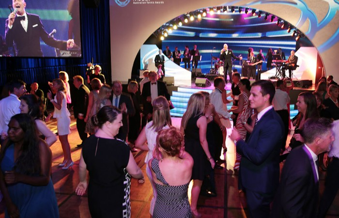 Patrons on the dancefloor at the 2014 Newcombe Medal Australian Tennis Awards; Fiona Hamilton