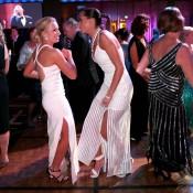 Daria Gavrilova (L) on the dancefloor at the 2014 Newcombe Medal Australian Tennis Awards; Fiona Hamilton