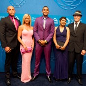 Nick Kyrgios (centre) with (L-R) brother Christos, Alicia Gowans, mother Nill and father George on the blue carpet at the 2014 Newcombe Medal Australian Tennis Awards; Elizabeth Xue Bai