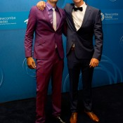 Nick Kyrgios (L) and Thanasi Kokkinakis on the blue carpet at the 2014 Newcombe Medal Australian Tennis Awards; Elizabeth Xue Bai