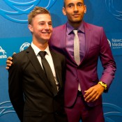 Nick Kyrgios (R) and Omar Jasika on the blue carpet at the 2014 Newcombe Medal Australian Tennis Awards; Elizabeth Xue Bai