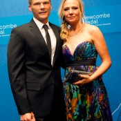 Peter Luczak (left) and wife Anna Catarina on the blue carpet at the 2014 Newcombe Medal Australian Tennis Awards; Elizabeth Xue Bai