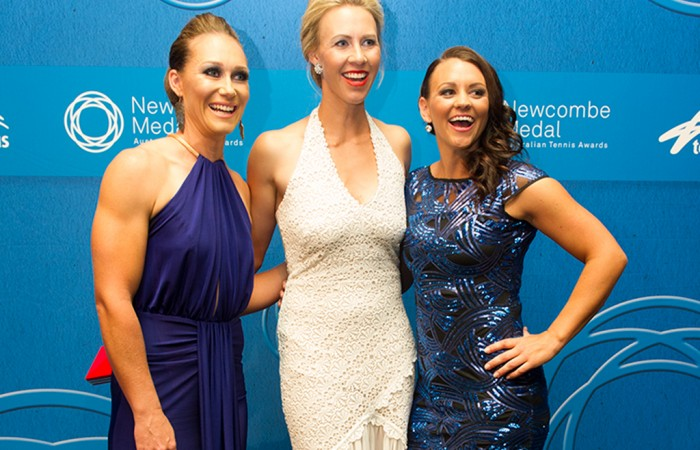Sam Stosur, Alicia Molik and Casey Dellacqua on the blue carpet at the 2014 Newcombe Medal Australian Tennis Awards; Elizabeth Xue Bai